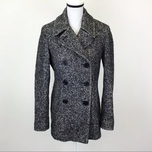 Calvin Klein Black White Wool Blend Pea Coat
